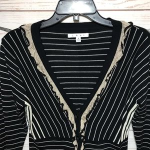 CAbi Sweaters - Cabi Striped Button Down Crop Cardigan Size S
